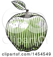 Clipart Graphic Of A Sketched Green Apple Royalty Free Vector Illustration
