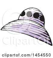 Clipart Graphic Of A Sketched Purple Flying Saucer Royalty Free Vector Illustration