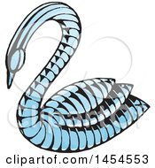 Clipart Graphic Of A Sketched Blue Swan Royalty Free Vector Illustration