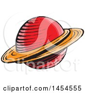 Clipart Graphic Of A Sketched Ringed Planet Royalty Free Vector Illustration