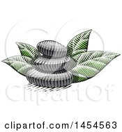 Clipart Graphic Of A Sketched Stack Of Spa Stones And Leaves Royalty Free Vector Illustration