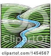 Clipart Graphic Of A Sketched River Through Hills Royalty Free Vector Illustration