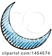 Poster, Art Print Of Sketched Blue Crescent Moon