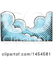Clipart Graphic Of A  Sketched Background Of Clouds Royalty Free Vector Illustration