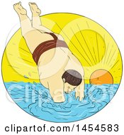 Clipart Graphic Of A Drawing Sketch Styled Sumo Wrestler Diving Into The Sea Against A Sunset Royalty Free Vector Illustration by patrimonio