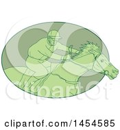 Clipart Graphic Of A Drawing Sketch Styled Green Male Jockey Racing A Horse In An Oval Royalty Free Vector Illustration