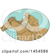Clipart Graphic Of A Drawing Sketch Styled Male Jockey Racing A Horse In A Turquoise Oval Royalty Free Vector Illustration