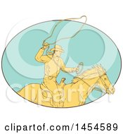 Clipart Graphic Of A Drawing Sketch Styled Cowboy Swinging A Lasso On Horseback In A Turquoise Oval Royalty Free Vector Illustration