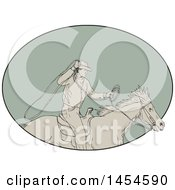 Drawing Sketch Styled Cowboy Swinging A Lasso On Horseback In A Green Oval