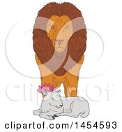 Clipart Graphic Of A Sketchd Lion Standing Over A Sleeping Lamb Royalty Free Vector Illustration