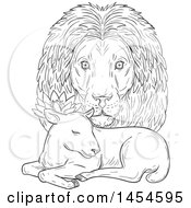 Clipart Graphic Of A Black And White Sketchd Lion Head Looking Over A Sleeping Lamb Royalty Free Vector Illustration