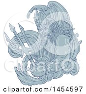 Clipart Graphic Of A Drawing Sketch Styled God Poseidon With Sea Waves And A Trident Royalty Free Vector Illustration