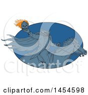 Drawing Sketch Styled Headless Horseman Holding A Flaming Pumpkin Head In A Blue Oval