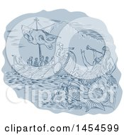 Clipart Graphic Of A Sketched Drawing Of Siren Mermaids Calling To A Greek Ship At Sea Royalty Free Vector Illustration by patrimonio
