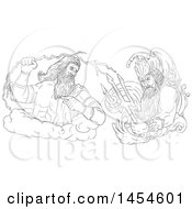 Clipart Graphic Of A Black And White Sketched God Zeus Holding A Thunderbolt Vs Poseidon Holding A Trident Royalty Free Vector Illustration