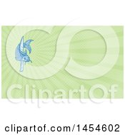 Clipart Of A Sketched Blue Koi Fish With A Knife And Green Rays Background Or Business Card Design Royalty Free Illustration