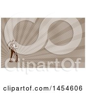 Retro Brown And White Woodcut Male Farmer Holding A Scythe And Brown Rays Background Or Business Card Design