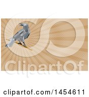 Clipart Of A Geometric Low Polygon Styled Crow On A Branch And Brown Rays Background Or Business Card Design Royalty Free Illustration