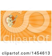 Poster, Art Print Of Sketched Bearded Cowboy Playing A Bass Guitar In A Circle And Orange Rays Background Or Business Card Design