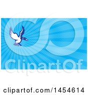 Clipart Of A Retro Blue And White Mallard Duck Flying And Blue Rays Background Or Business Card Design Royalty Free Illustration by patrimonio