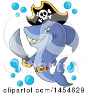 Clipart Graphic Of A Cartoon Pirate Captain Shark Holding A Sword Royalty Free Vector Illustration