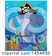 Clipart Graphic Of A Cartoon Pirate Captain Shark Holding A Sword By A Sunken Treasure Chest Royalty Free Vector Illustration