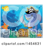 Clipart Graphic Of A Cartoon Pirate Captain Shark Holding A Sword By A Sunken Ship And Treasure Chest Royalty Free Vector Illustration