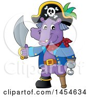 Clipart Graphic Of A Cartoon Hippo Captain Pirate Holding A Sword Royalty Free Vector Illustration by visekart