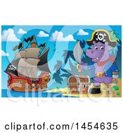 Clipart Graphic Of A Cartoon Hippo Captain Pirate Holding A Sword By A Treasure Chest On An Island Royalty Free Vector Illustration