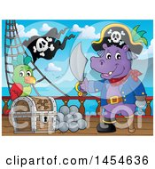 Clipart Graphic Of A Cartoon Hippo Captain Pirate Holding A Sword By A Treasure Chest On A Ship Deck Royalty Free Vector Illustration