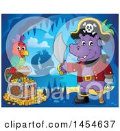 Clipart Graphic Of A Cartoon Hippo Captain Pirate Holding A Sword By A Treasure Chest In A Cave Royalty Free Vector Illustration
