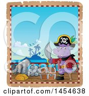 Clipart Graphic Of A Parchment Border Of A Hippo Captain Pirate Holding A Sword By A Treasure Chest On A Ship Deck Royalty Free Vector Illustration