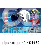 Clipart Graphic Of A Cartoon Hippo Captain Pirate Holding A Sword Against A Full Moon Ship And Lighthouse Royalty Free Vector Illustration