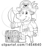 Clipart Graphic Of A Cartoon Black And White Hippo Captain Pirate Holding A Sword By A Treasure Chest Royalty Free Vector Illustration