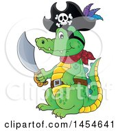 Clipart Graphic Of A Cartoon Crocodile Pirate Holding A Sword Royalty Free Vector Illustration