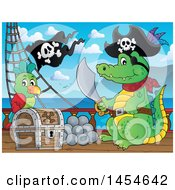 Clipart Graphic Of A Cartoon Crocodile Pirate Holding A Sword By A Treasure Chest On A Ship Deck Royalty Free Vector Illustration
