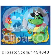 Clipart Graphic Of A Cartoon Crocodile Pirate Holding A Sword By A Treasure Chest In A Cave Royalty Free Vector Illustration