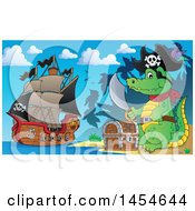 Cartoon Crocodile Pirate Holding A Sword By A Treasure Chest On An Island