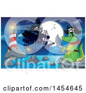Clipart Graphic Of A Cartoon Crocodile Pirate Holding A Sword Against A Ship Full Moon And Lighthouse Royalty Free Vector Illustration