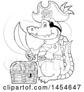 Clipart Graphic Of A Cartoon Black And White Crocodile Pirate Holding A Sword By A Treasure Chest Royalty Free Vector Illustration