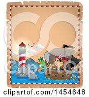 Clipart Graphic Of A Parchment Border Of A Monkey Pirate Holding A Sword On A Ship With A Parrot Near A Lighthouse Royalty Free Vector Illustration