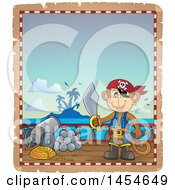 Clipart Graphic Of A Parchment Border Of A Monkey Pirate Holding A Sword On A Ship Royalty Free Vector Illustration