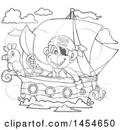 Clipart Graphic Of A Cartoon Black And White Monkey Pirate Holding A Sword On A Ship With A Parrot Royalty Free Vector Illustration