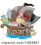 Clipart Graphic Of A Cartoon Monkey Pirate Holding A Sword On A Ship With A Parrot Royalty Free Vector Illustration
