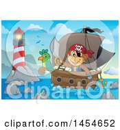 Clipart Graphic Of A Cartoon Monkey Pirate Holding A Sword On A Ship With A Parrot Near A Lighthouse Royalty Free Vector Illustration