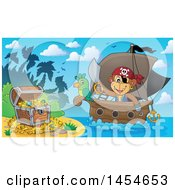 Clipart Graphic Of A Cartoon Monkey Pirate Holding A Sword On A Ship With A Parrot Near A Beach With Treasure Royalty Free Vector Illustration