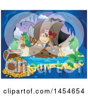 Clipart Graphic Of A Cartoon Monkey Pirate Holding A Sword On A Ship With A Parrot Near A Cave With Treasure Royalty Free Vector Illustration