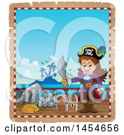 Clipart Graphic Of A Parchment Border Of A Pirate Girl Holding A Sword By A Treasure Chest Royalty Free Vector Illustration