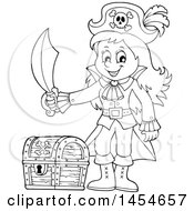 Clipart Graphic Of A Cartoon Black And White Pirate Girl Holding A Sword By A Treasure Chest Royalty Free Vector Illustration