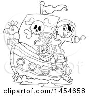 Cartoon Black And White Sailing Pirate Ship With A Parrot